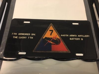 Commemorative WWII vehicle license plate - 7th Armored Divison - 440th Arm'd Artillery