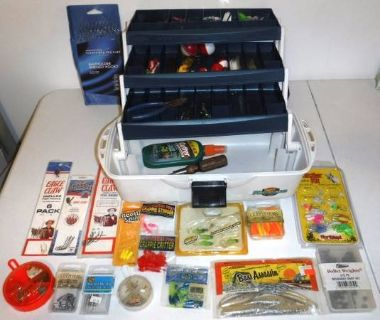Flambeau Fishing Tackle Box filled w/ hooks bobbers tools bait + more