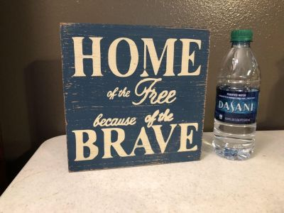 NWT! WOOD BLOCK SIGN - HOME OF THE FREE BECAUSE OF THE BRAVE