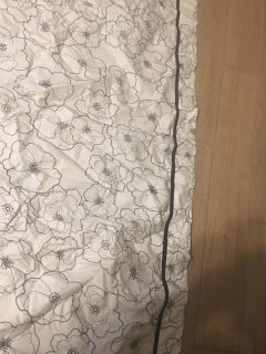Black Thread Accents Flowers on White Curtain 1 Panel 35 1/2 by 83 1/2