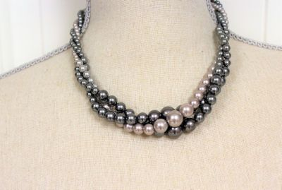 """Vintage Signed RMN 18"""" Gray Silver Bead Twisted Necklace Chain Strand Statement"""