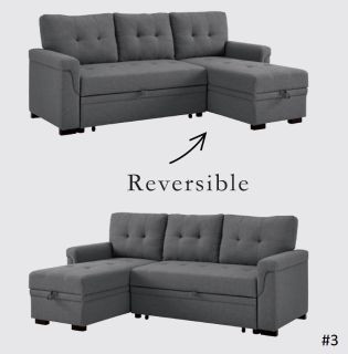 Reversible Sleeper Sofa in Steel Gray Linen