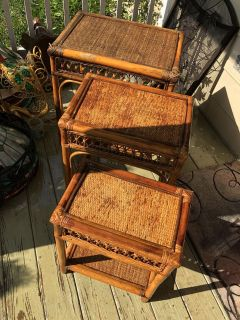 Genuine Rattan & Cane Stacking Tables