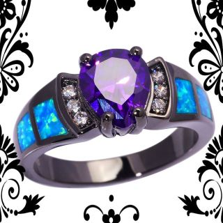 New - Blue Fire Opal and Amethyst Black Ring - Size 9