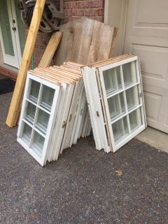 Old Vintage Wood Windows $10 each Cash Only 250+ GREAT SIZES, SAT AUG 18 ALL DAY ANYTIME, Message with any questions!