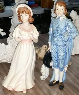 "Vintage Colonial Pinkie &Blue Boy Man & Woman Figurines 16""-17"" Tall"