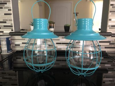 Teal Battery Operated Industrial lanterns