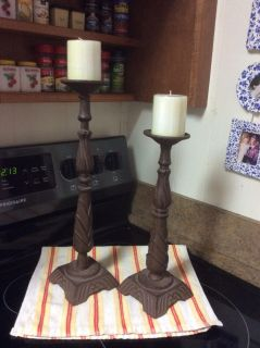 Heavy Brown Wrought Iron Candlesticks