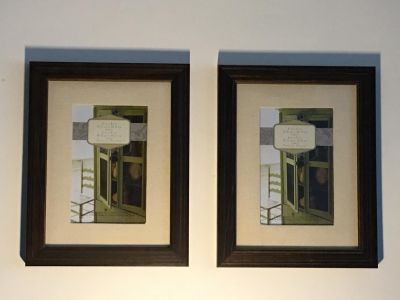 Set of 2 Elegant wood stained picture frames.