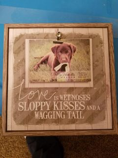 Dog picture frame. Wood. Brand new