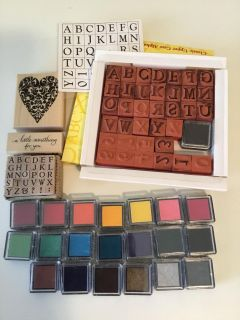 (2) Alphabet Sets Stamps Large/Small, 19 New Sealed Ink Pads, 1 Open, 1 Filigreed Heart Stamp, 1 Something For You Stamp