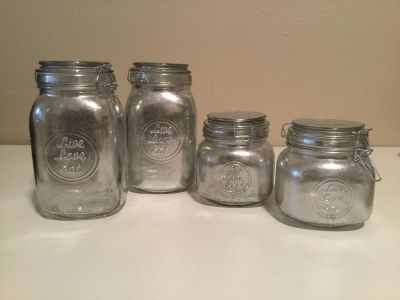 Brand New Live Love Eat Mercury Glass Kitchen Canister Set of 4