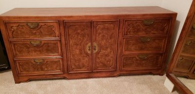 Dresser with mirror and matching night stand, medium cherry color