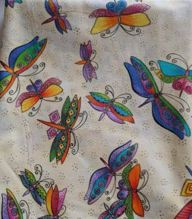 """""""Flying Colors"""", Butterflies w/Metallic Outlines Fabric (4-134)"""