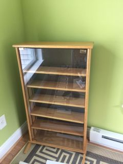 CD or DVD Wood Cabinet with Glass Door