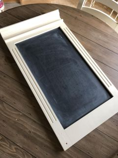 Solid wood chalk painted chalk board with ledge to hold chalk on top, hangs with keyhole hangers, 3 ft tall- PRICE FIRM