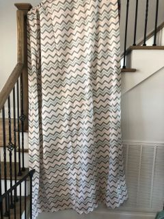 Pink and gray chevron curtains and nursery decor