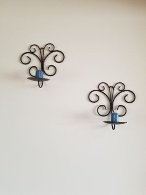 2 BEAUTIFUL METAL CANDLE HOLDERS