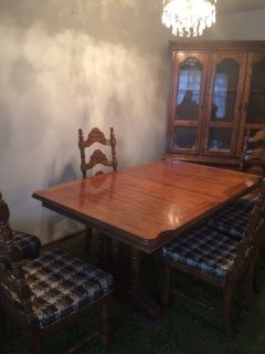 Dining room table and china hutch