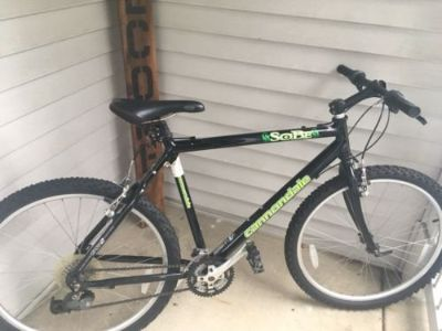 "vintage cannondale black sobe team lizard mountain bicycle usa bike 20"" 24 speed"