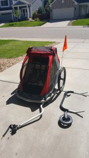 EUC convertible double bike trailer stroller and flag, New bar attachments for stroller option