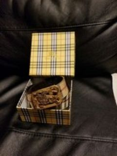 Burberry Gold Leather Belt with Box