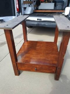 Large Square rectangular Solid Wood Dining Table with Drawer underneat