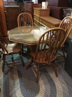 Glass Topped Dining Table and Four Chairs - Delivery Available