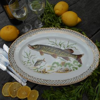 French 1960's Porcelain Fish Serving Platter.
