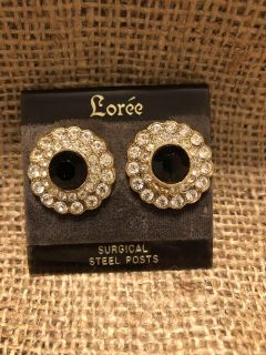 Vintage Black and Rhinestone Special Occasion Earrings