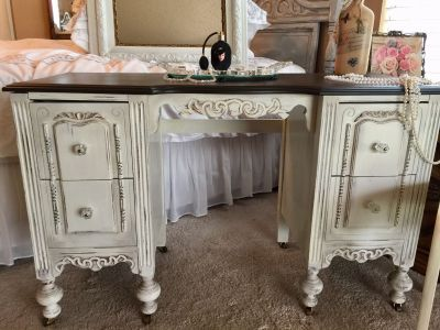 Old World Vintage Vanity-Desk..Antique from the 1930 s/40 s..4 deep drawers/ Glass Knobs/ Wooden Wheels/Java Stained Top