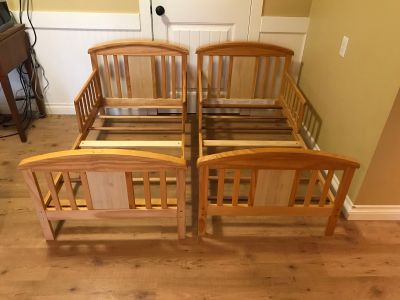 2 wood toddler beds