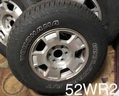 265-270-17...17 inch rims with allterrain tires comes with all lignuts and centet caps d
