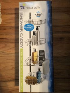 New Chrome 4 Tier Shower Caddy (Tension Rod)