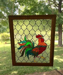 Rooster FAUX Stained Glass Framed Art