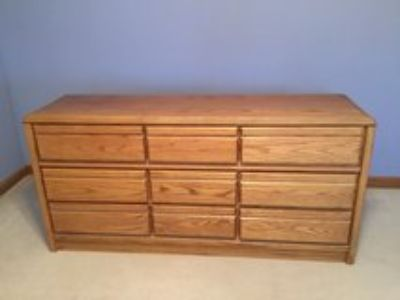 Solid Oak Dresser with large Trifold Mirror (not shown)