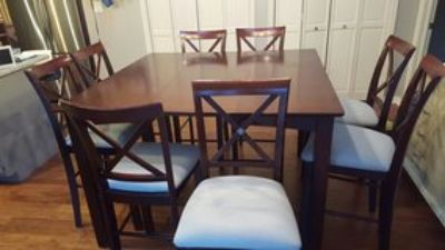 Counter height kitchen table and chair set - 9 pieces