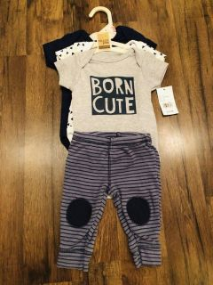 0-3 month onesies (NWT) and pants