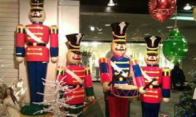 FOR SALE: Giant Life-Size Christmas Toyland Toy Soldier & Train Display (6)