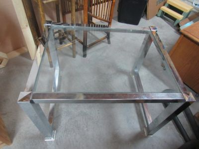 nice glass top silver side table