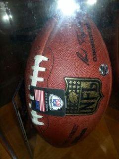 Brett Farve autographed football & mini helmet