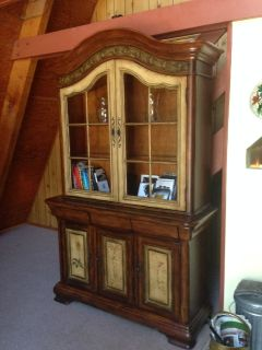 China Cabinet, Walnut with distressed inlay
