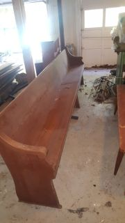 10' solid cherry church pew / bench and 2 5' benches