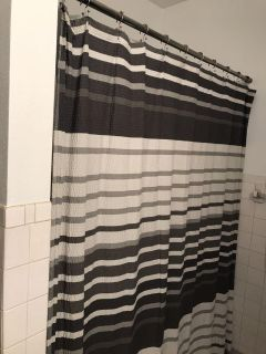 Gray and white textured fabric shower curtain