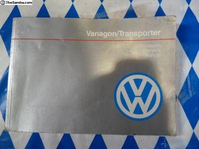 1990/1991 Vanagon owners manual