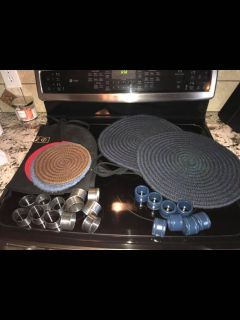 5Hot place mats Black apron 8 Navy would napkin holders 12 antique metal napkin holders All one price