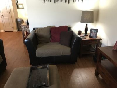 Sectional with Oversized Chair and Ottoman