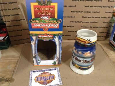 """2000 BUDWEISER """"Holiday In the Mountains"""" Holiday Stein"""