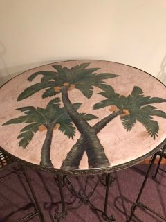 Round Palm Tree Hi-top rod iron table and chairs