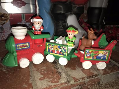 FISHER PRICE LITTLE PEOPLE MUSICAL SANTA CHRISTMAS TRAIN & FIGURES! EXCELLENT CONDITION RARE!